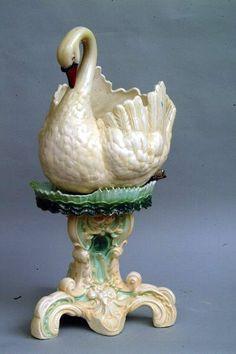 Antique Swan Form Jardiniere & Stand