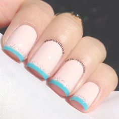 Pastel French tip nails
