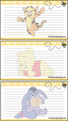Recipe Cards Recipe Cards Winnie the Pooh