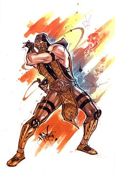 Mortal Kombat by Filipe Aguiar Scorpion Blaze Scorpion Mortal Kombat, Mortal Kombat Art, Final Fantasy Characters, Video Game Characters, Game Character Design, Comic Character, Hero Fighter, Mileena, Video Game Art