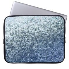Light Blue Bubbles and Bokeh Computer Sleeve - light gifts template style unique special diy