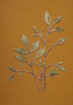 Snijmal Memory Box 'Fresh Foliage' Ingekleurd met Caran d'Ache Supra Color Soft potloden en nat gemaakt met een vochtig potlood.