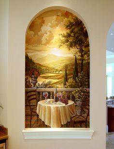 Tuscan Mural Painting - Artist Tim Parker - Naples FL