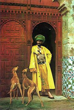 Most renowned of the Orientalists was Jean-Leon Gerome: In 'Complicity' (1875) he shows a man enjoying the company of his dogs. Because of their loose clothing men wore their pistols in holsters around their waist rather than on their hips.
