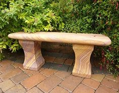 Large Garden Benches - Mulsanne Polished Rainbow Sandstone Stone Bench. Buy now at http://www.statuesandsculptures.co.uk/large-garden-benches-mulsanne-polished-rainbow-sandstone-stone-bench