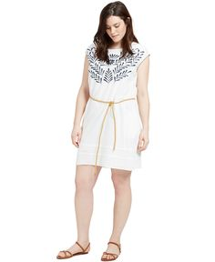 Violeta by Mango Plus Size Embroidered Belted Dress - Dresses - Plus Sizes - Macy's