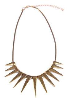 Gold Vintage Rivet Tassel Necklace #SheInside