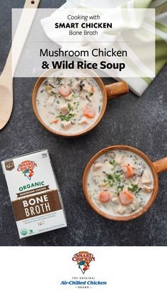 Enhance your meals with our Organic Smart Chicken Bone Broth! Pick from four savory flavors, including Classic, Mushroom, Garlic Rosemary and Pho. Available online at Shop.SmartChicken.com. Chicken Wild Rice Soup, Mushroom Chicken, Chicken Brands, Bone Broth, Pho, Cheeseburger Chowder, Soup Recipes, Soups, Garlic