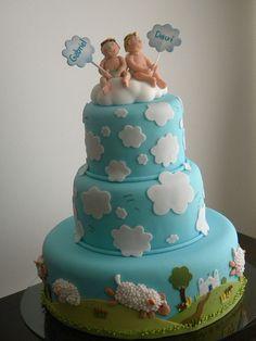 bolo Batismo Davi e Gabriel by A de Açúcar Bolos Artísticos, via Flickr Sweet Birthday Cake, Twins Cake, Pizza Cake, Minnie Mouse Cake, Cake Gallery, Novelty Cakes, Cupcake Cookies, Cupcakes, Piece Of Cakes