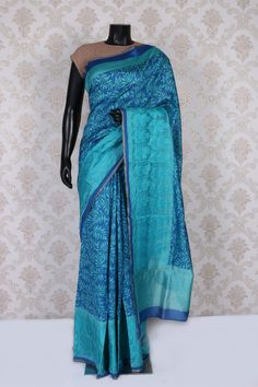 Dark #blue and turquoise blue tussar #silk charming #saree with weaved #pallu -SR11044 | handloom tussar silk sarees