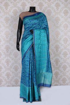 Dark #blue and turquoise blue tussar #silk charming #saree with weaved #pallu -SR11044   handloom tussar silk sarees