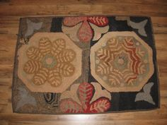 Antique-Early-Hooked-Rug-Floral-Geometric-Needs-Repair