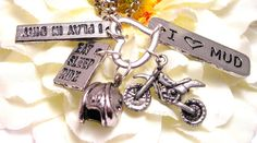 Dirtbike Love charm holder necklace for the true dirtbike rider. $19.00, via Etsy.