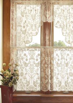 Heritage Lace folk art lace curtains.  LUV!                                                                                                                                                                                 More