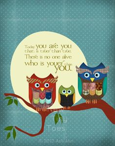 Owls Art Print DrSeuss quote Childrens Art Prints by NewTinyToes, $ 20.00