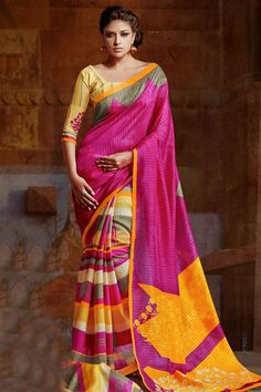 Spellbinding Yellow, Magenta Silk Printed Saree