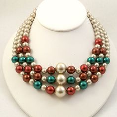 Bead Necklace 1960s Inspired Multi Strand Glass Beads by Revvie1, $36.00
