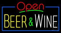 Open Beer and Wine Neon Sign 20 Tall x 37 Wide x 3 Deep, is 100% Handcrafted with Real Glass Tube Neon Sign. !!! Made in USA !!!  Colors on the sign are Yellow, Green, Blue, White and Red. Open Beer and Wine Neon Sign is high impact, eye catching, real glass tube neon sign. This characteristic glow can attract customers like nothing else, virtually burning your identity into the minds of potential and future customers.