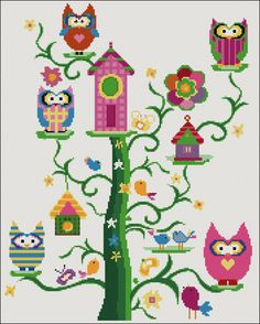 Family owl counted cross stitch kit by YiotasXStitch on Etsy