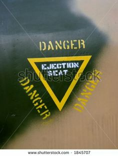 Ejection information on a fighter-jet - stock photo