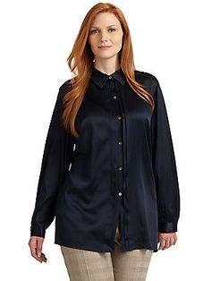 Marina Rinaldi, Plus Size Stretch-Silk Pleat-Front Shirt - Navy