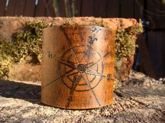 Vintage Style Compass Rose Travel Cuff  Hand Carved by Cjohannesen, $27.00