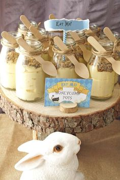 Jar treats at a Alice in Wonderland Birthday Party!  See more party planning ideas at CatchMyParty.com!