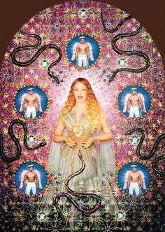 """Pierre et Gilles, The Virgin with the Serpents (Kylie Minogue), 2008  Virgins (or Madonnas) collection, """"Auréole"""" gown  Haute couture spring/summer 2007.  Galerie Jérôme de Noirmont, Paris  © Pierre et Gilles. Courtesy Galerie Jérôme de Noirmont, Paris"""