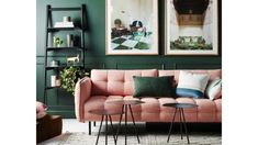 Oh that pink sofa! Need it for that other space where I said a pink sofa was needed. Decor, Retro Home Decor, Living Room Green, Retro Living Rooms, Green Rooms, Living Room Decor, House Interior, Green Walls Living Room, Interior Design Living Room