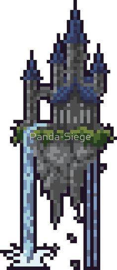 'Floating Castle' by Panda-Siege Pixel Art, Art Tutorials, Art Work, Panda, Castle, 1, Animation, Draw, Fantasy