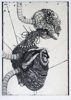 Shashiki Yuri aka Jashiki Yuri aka Yuri Shashiki 謝敷ゆうり (Japanese, b. Arte Hip Hop, Arte Robot, Bizarre Art, Arte Horror, Cyberpunk Art, Japanese Artists, Sci Fi Art, Dark Art, Manga Art