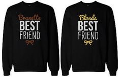 If you are looking for a high quality matching sweatshirts, this is it! Made in USA, our couples matching sweatshirts are individually printed using a digital printer and quality is assured. BFF Matching sweatshirts, designed and printed in USA. Best Friend Sweatshirts, Best Friend T Shirts, Friends Sweatshirt, Bff Shirts, Best Friend Outfits, Cool Shirts, Funny Shirts, Best Friends, Friends Shirts