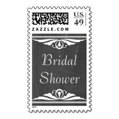 Ivory Deco Chalkboard Bridal Shower Postage