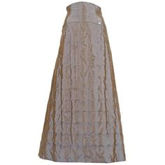 Preowned Chanel Quilted Two-tone Taffeta Evening Skirt, Circa 1999 ($3,115) ❤ liked on Polyvore featuring skirts, grey, grey skirt, high waisted knee length skirt, high waist skirt, gray skirt and cocktail skirt