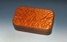 Handmade Wooden Box -Small Wood Box of Lacewood on Walnut - Stash Box Gift Box  Jewelry Box Keepsake Box Wood Trinket Box Treasure Box by BurlWoodBox Small Wood Box, Small Boxes, Small Jewelry Box, Wooden Jewelry Boxes, Stash Jars, Barrel Hinges, Great Gifts For Men, Treasure Boxes, Wood Boxes