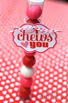 "I ""Chews"" You Valentine: Love the Day's I ""Chews"" You printable cards are perfect on everything, from a pack of gum to a bag filled with gummy candies.  Source: Love the Day"