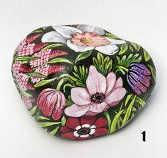 Dipinto su pietra - FIORI - Opera d'arte - Idea regalo - oggetto da collezione
