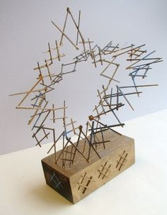 Toothpick sculpture:: erin evans :: design printmaking макетирование, п Sculpture Lessons, Sculpture Projects, Wood Sculpture, Toothpick Sculpture, 3d Art Projects, Pick Art, Assemblage Art, Elements Of Art, Art Lesson Plans
