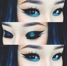 Blue and black eyeliner.