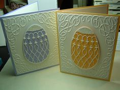 handmade Easter cards ... Memory Box ornate and lacey Easter Egg die used for main image ... like how the embossing folder frame echoes the design of the eggs ...