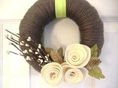 Woodland Earth Wreath, Handmade Felt & Flower Door / Wall Hanging Christmas Gift 8 inches. $32.00, via Etsy.