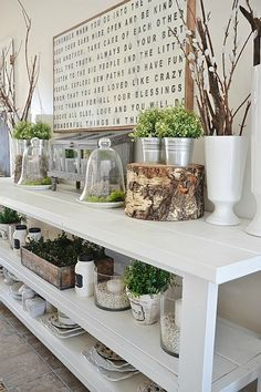 Lovely Spring dining room - lizmarieblog.com Use of branches & stumps!
