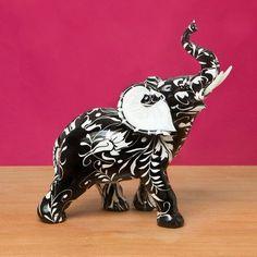 FashionCraft Stunning Black and White Flourish Elephant Figurine