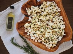 Truffled Popcorn With Rosemary and Garlic Recipe Lunch, Snacks with extra-virgin olive oil, rosemary leaves, garlic, popcorn kernels, truffle oil