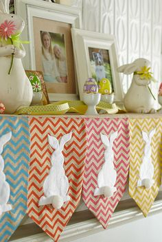 The adorable white cottontails really stand out from the pastel-colored panels and chevron design on Pier 1's White Rabbit Mantel Scarf.