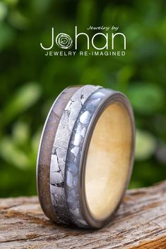 Jewelry by Johan's handmade wedding bands are crafted with unique materials like dinosaur bone, mother of pearl, meteorite, and exotic hardwoods. #JewelrybyJohan Meteorite Wedding Band, Engagement Rings, Pearl Wedding Bands, Gibeon Meteorite, Dinosaur Bones, Ring Crafts, Rings For Men, Pearls