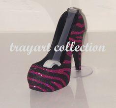 Black And Hot Pink Zebra Animal Print High Heel Shoe Tape Dispenser Stiletto Platform Office