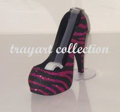 Black and Hot Pink Zebra Animal Print High Heel Shoe TAPE DISPENSER Stiletto Platform - office supplies - trayart collection. $27.50, via Etsy.