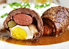 Czech Recipes, Main Meals, Sausage, Steak, Side Dishes, Beef, Dinners, Drink, Meat