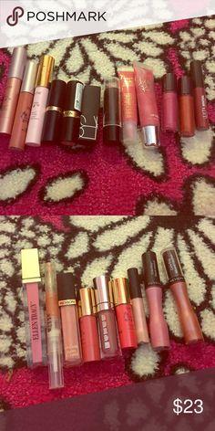 Lip bundle #2. 21 lippies. 2 tarte LipSurgences in escape and glitzy, tarte LipSurgence lipgloss in visionary, Revlon lipstick in temptress, Estée Lauder lipstick in sugar honey, beauty rush lipgloss in sublime, NARS lipstick in sexual healing, mini ulta lipgloss in moonstone, 2 tarte mini lip glosses, 3 revlon lip glosses in pink whisper, eternal blossom, and endless lilac, mini buxom lipgloss in dolly, and more. tarte Makeup